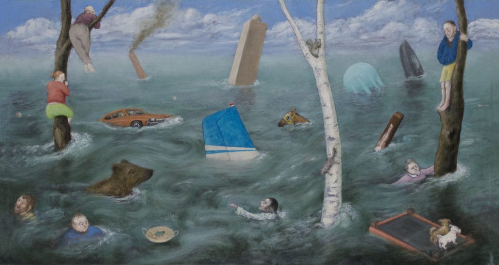 A painting of a flood. There are people swimming and climbing trees, with cars sinking in the water.