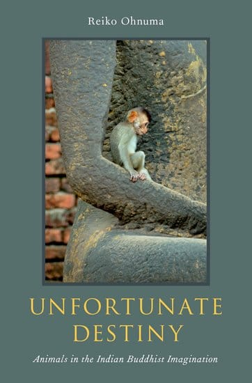 """Book cover for """"unfortunate destiny."""" It has a blue-grey background with a photo of a small monkey in the crook of a statues arm."""