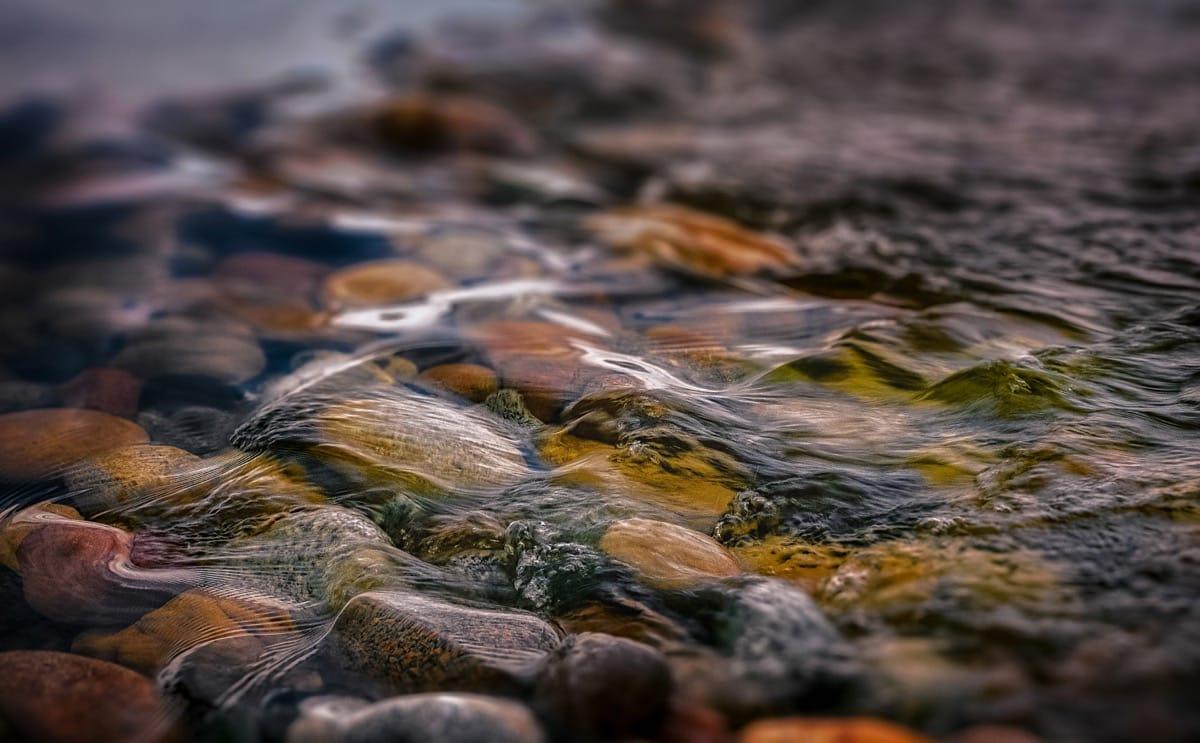 Water flowing over rocks.
