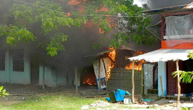 House burning in Myanmar.