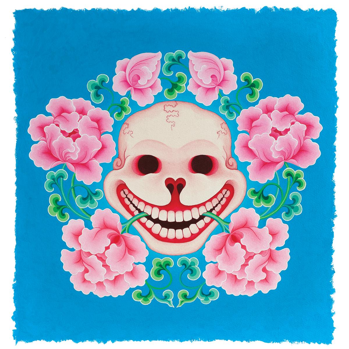 """""""Riendo ante la estupidez"""", pintura de Tashi Mannox de la serie """"Riendo ante la muerte: vivir y morir sin remordimientos""""."""
