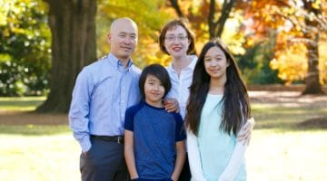 Sumi Loundon Kim with her husband and children.