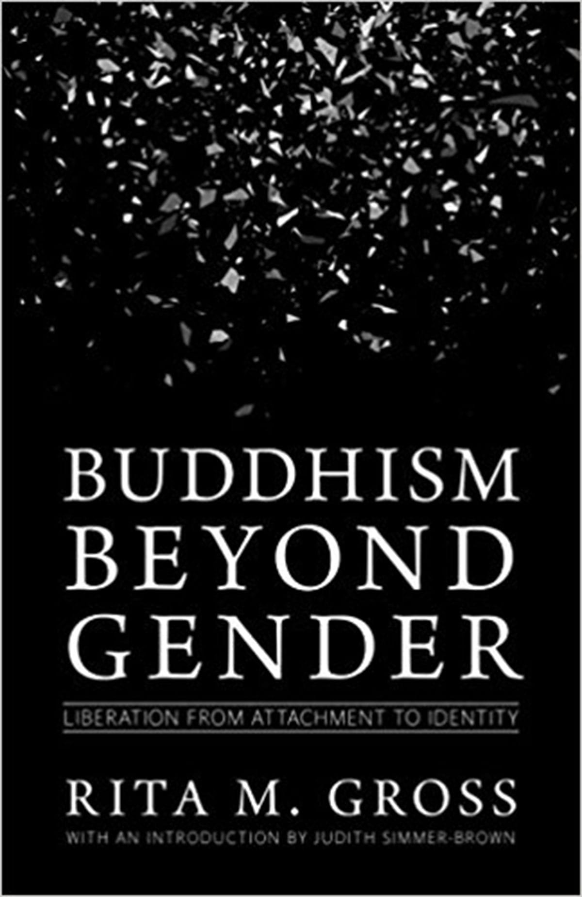 Book cover for Buddhism beyond gender. There is broken glass raining down over the top of a black background.