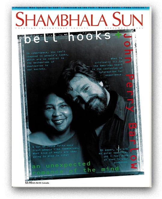 John Perry Barlow and bell hooks on the cover of Shambhala Sun magazine.
