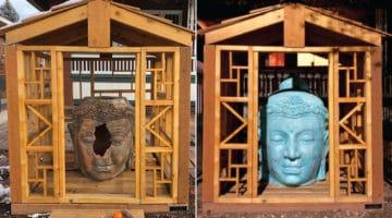 Two Buddha heads.