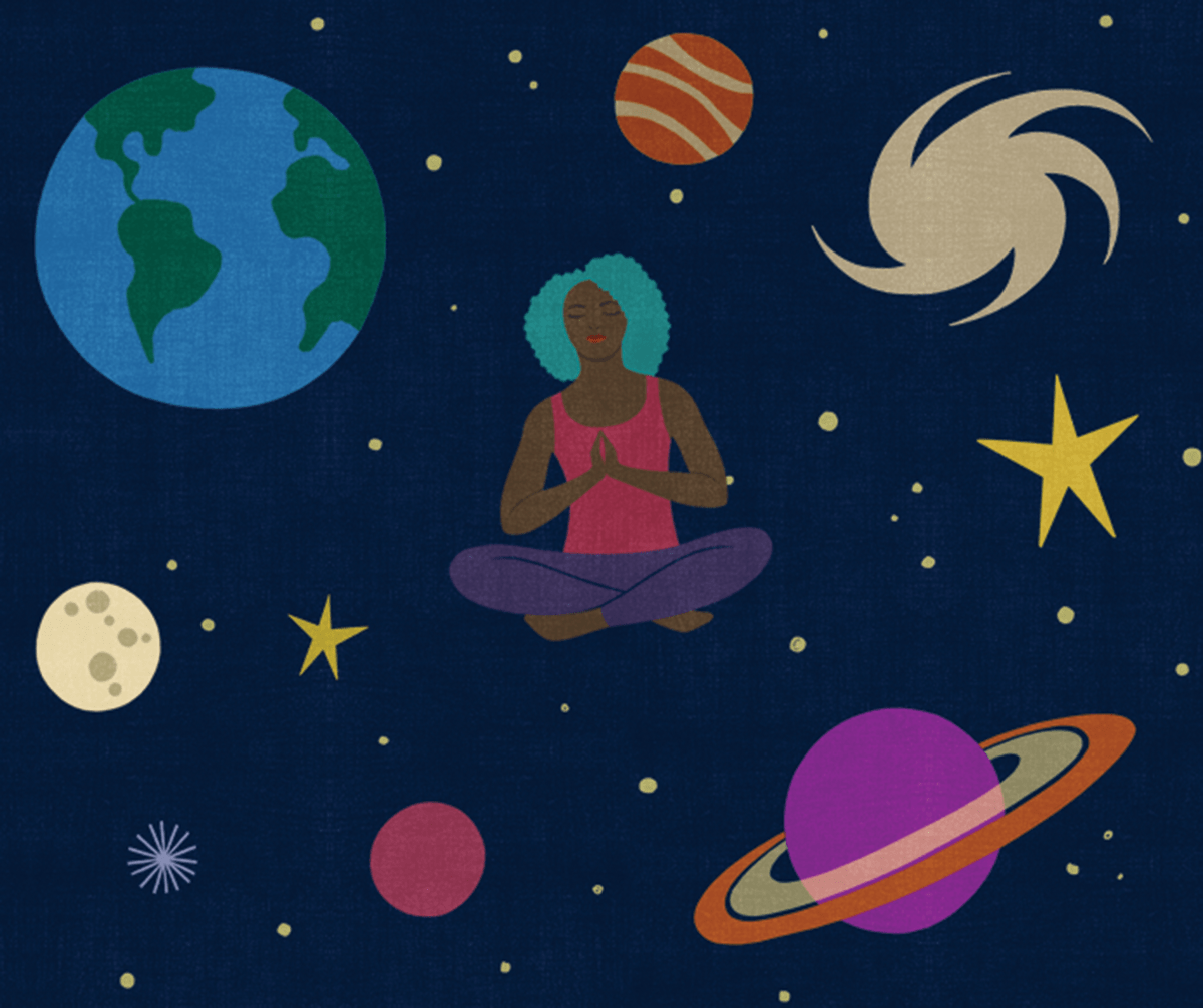 Illustration of woman meditating in the galaxy