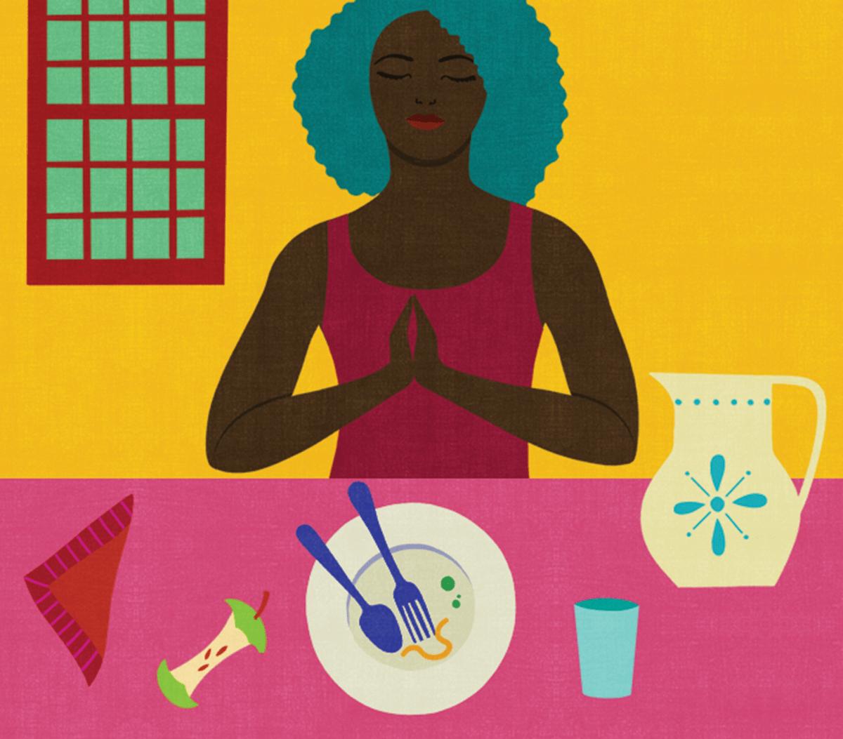 Illustration of woman meditating after meal