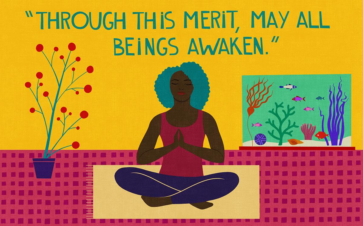"Illustration of woman meditating, ""Through this merit, may all beings awaken."""