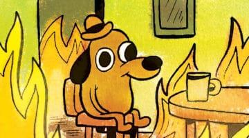 Cartoon dog comfortable in flames.