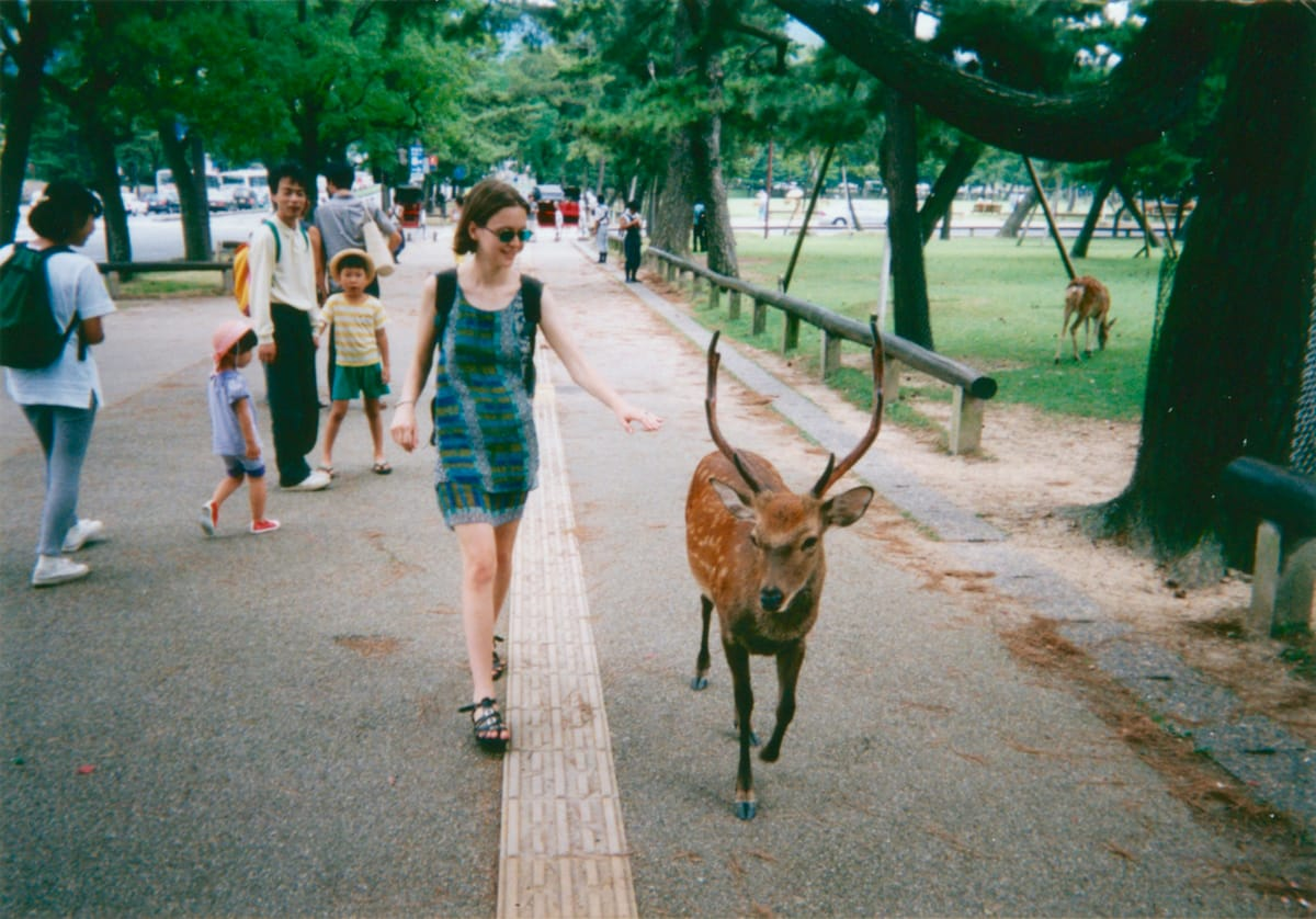 Andrea touching a deer in Nara.