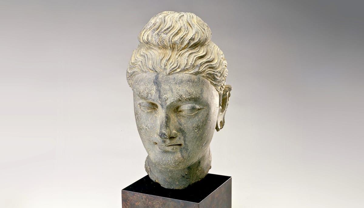 Sculpture of a Buddha head.