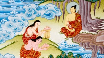 Painting of Sujata offering rice to the Buddha.