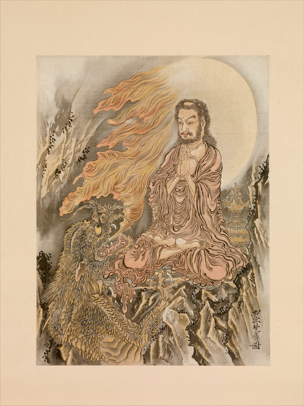 Painting of Shakyamuni conquering the demon mara.