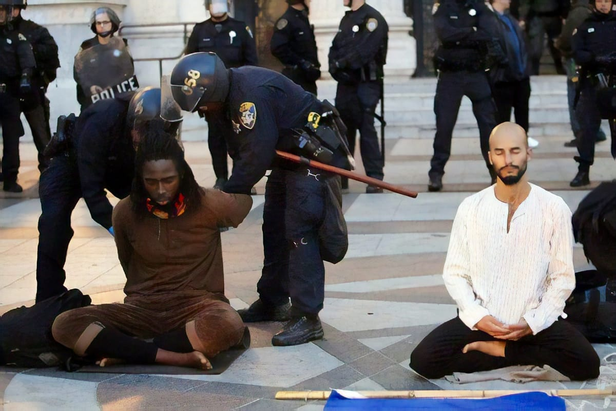 Meditators getting arrested.