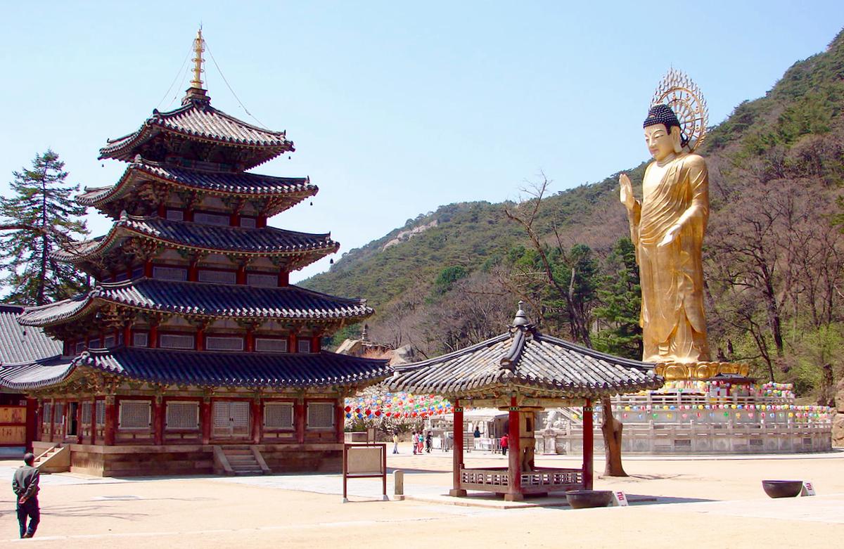 Korean Pagoda and Buddha statue.