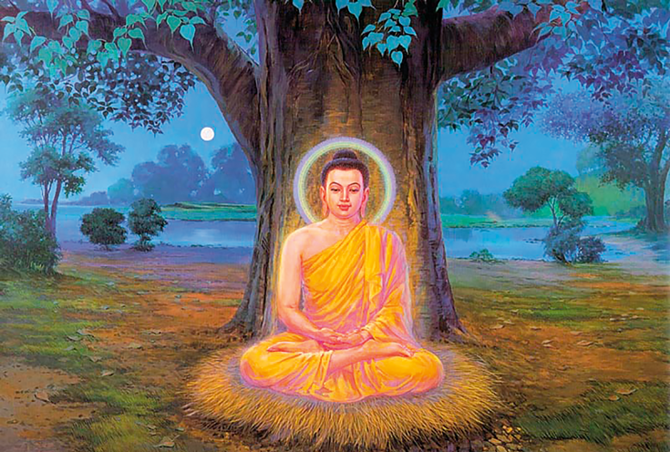 Buddha meditating in front of a tree. There is a halo around his head.