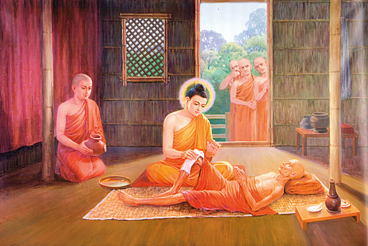 The Buddha healing a sick person. All the people in the painting are wearing monks robes.