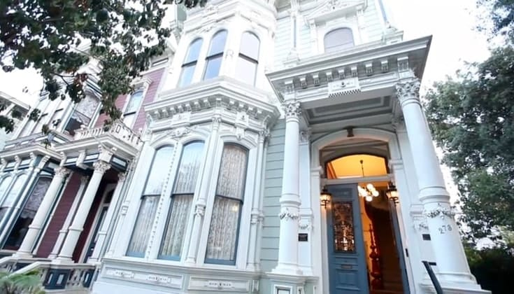 The front of a Victorian house.