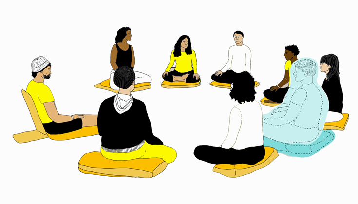 Illustration of Buddhist practitioners sitting in a meditation by Iris Gottlieb.