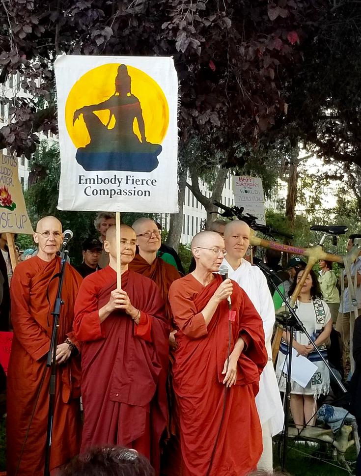 Buddhist nuns protesting.