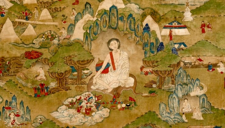 Thangka painting of Milarepa.