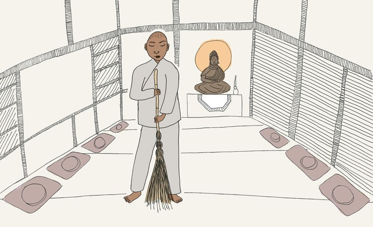 An illustration of a person in robes sweeping.