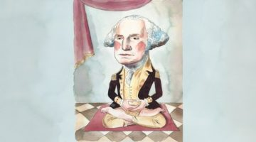 George Washington sitting in zazen meditation.