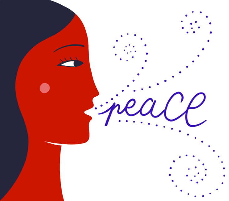 """Woman exhaling, """"peace"""""""