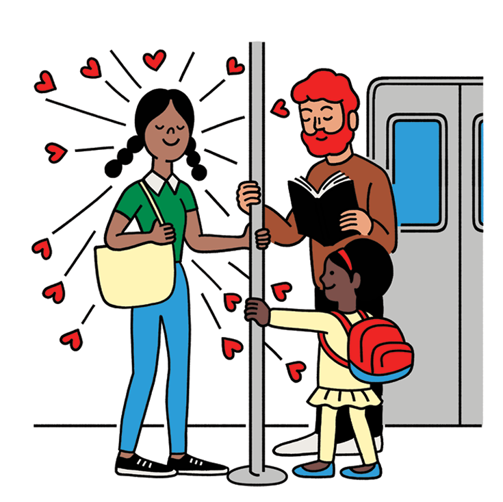 Cartoon of a woman smiling as she holds a pole on the subway. A man and young child also hold the pole.