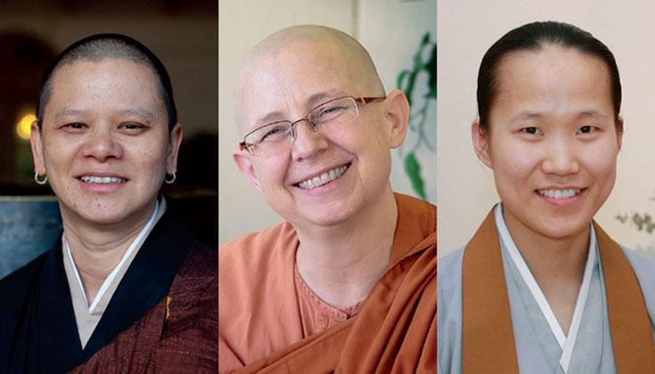 Portraits of Keiryu Liên Shutt, Ayya Suddhama, Doyeon Park smiling