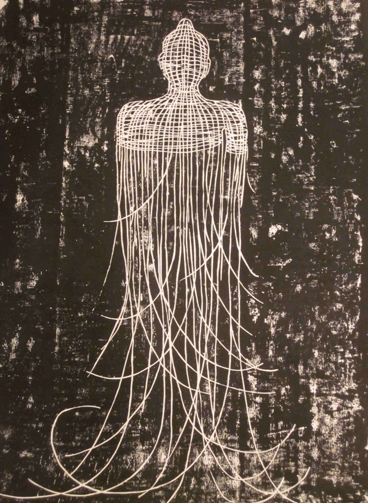 A drawing of a figure that is made out of string. The bottom half is threading apart from the top.