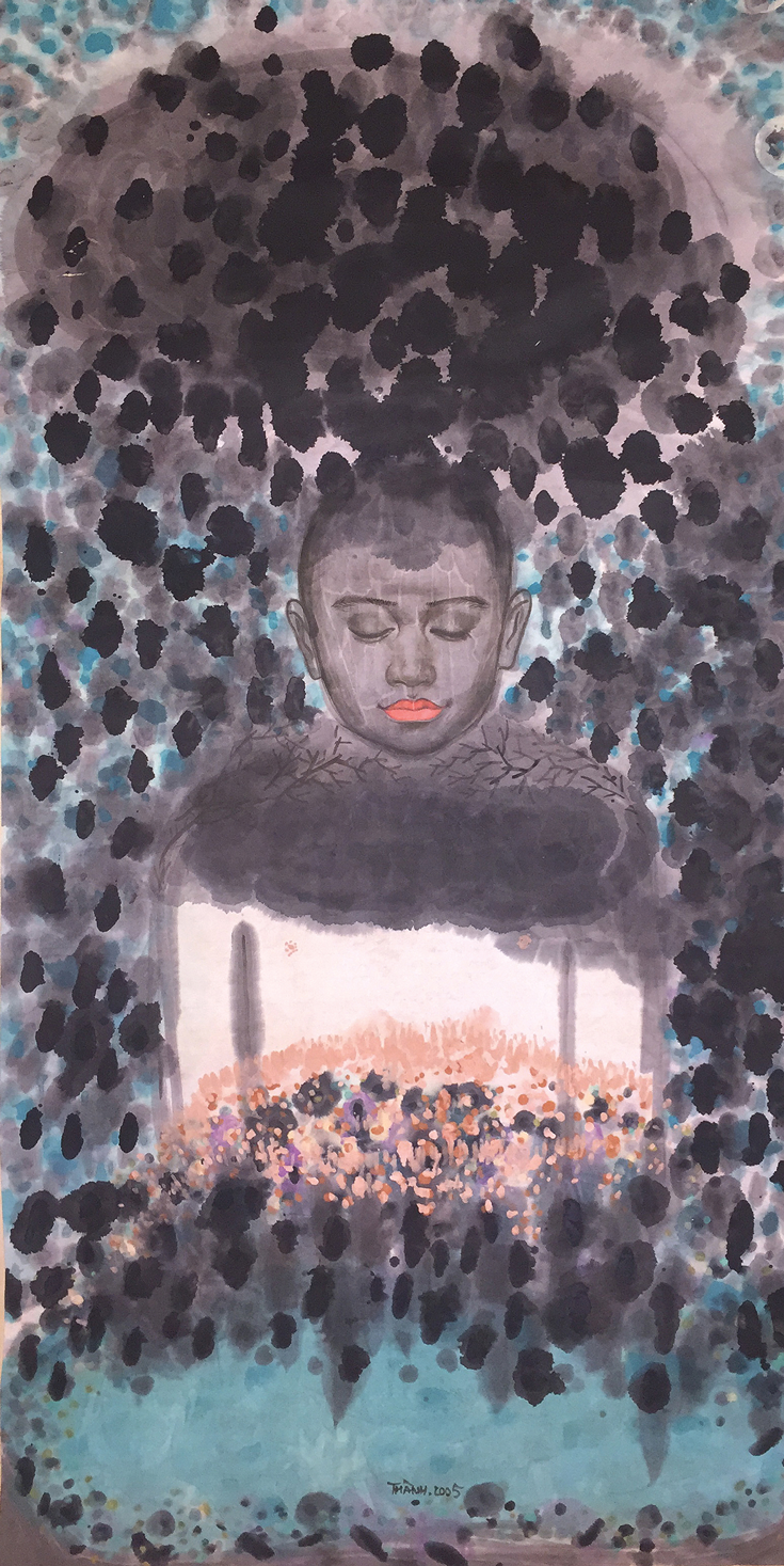 A painting of a person, with mostly purple and blue colours.
