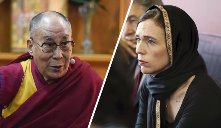 The Dalai Lama, New Zealand Prime Minister Jacinda Ardern