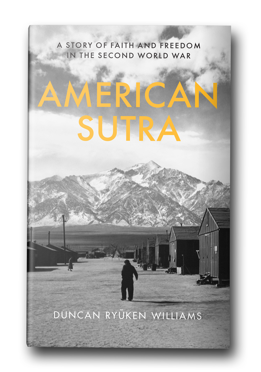 """Book cover for """"American Sutra."""" A black and white photo of a person in front of mountains."""