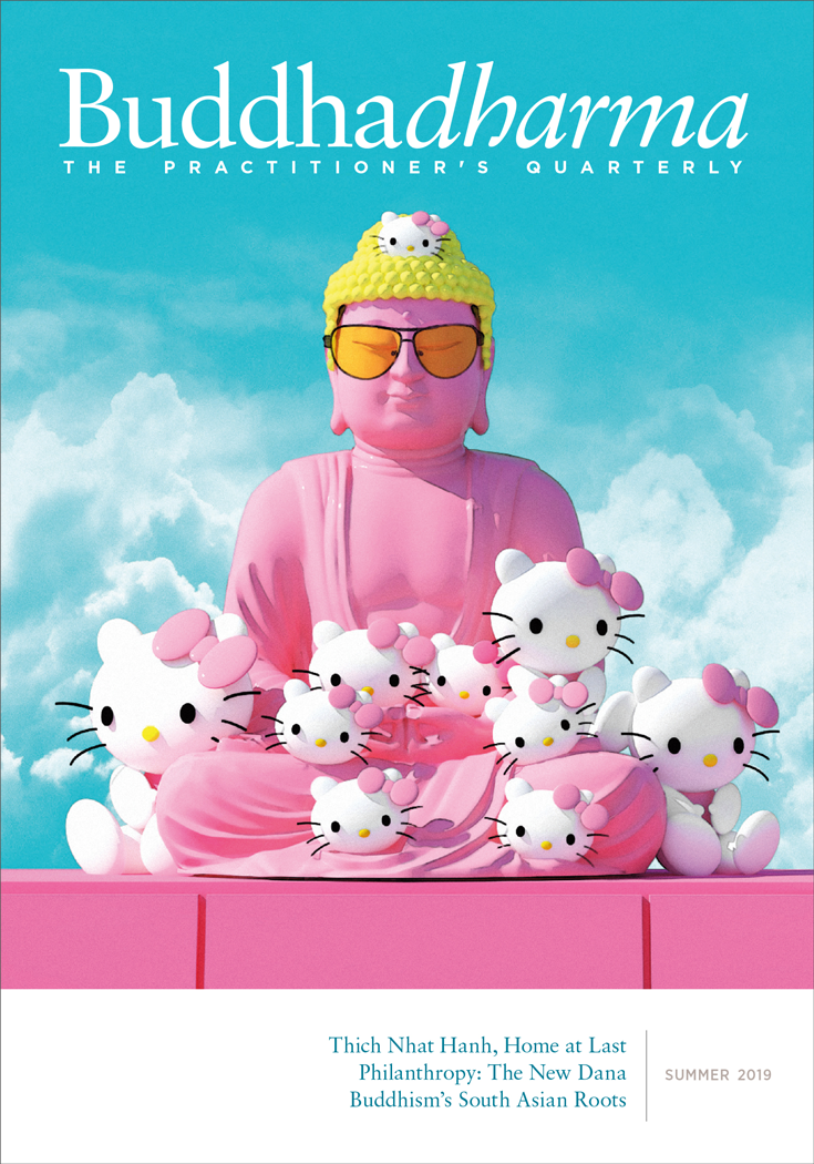 Magazine cover for Buddhadharma Summer 2019. It shows a pink Buddha statue surrounded by Hello Kittys against a bright blue sky.
