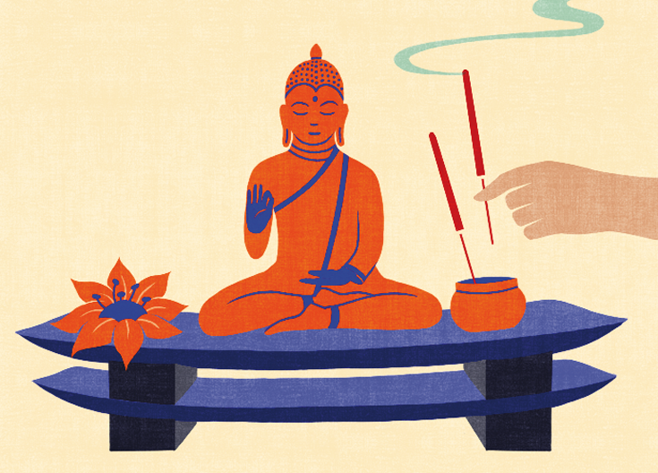Illustration of Buddha statue and incense.