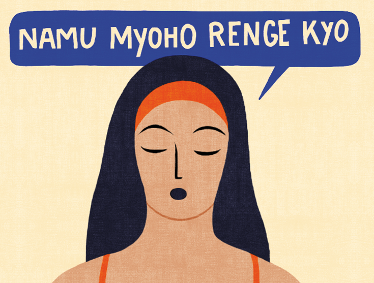 "Woman meditating, ""namu myoho renge kyo"""