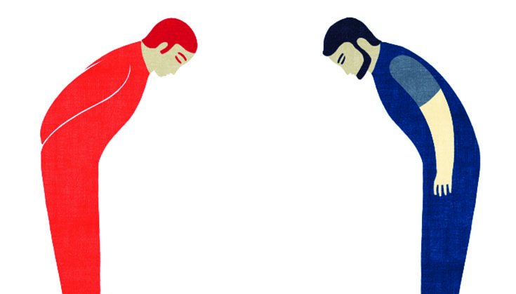 Illustration of two people bowing towards each other