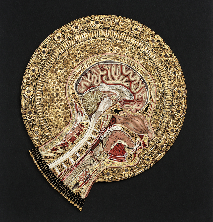 Painting of a skull with a gold foil around it.