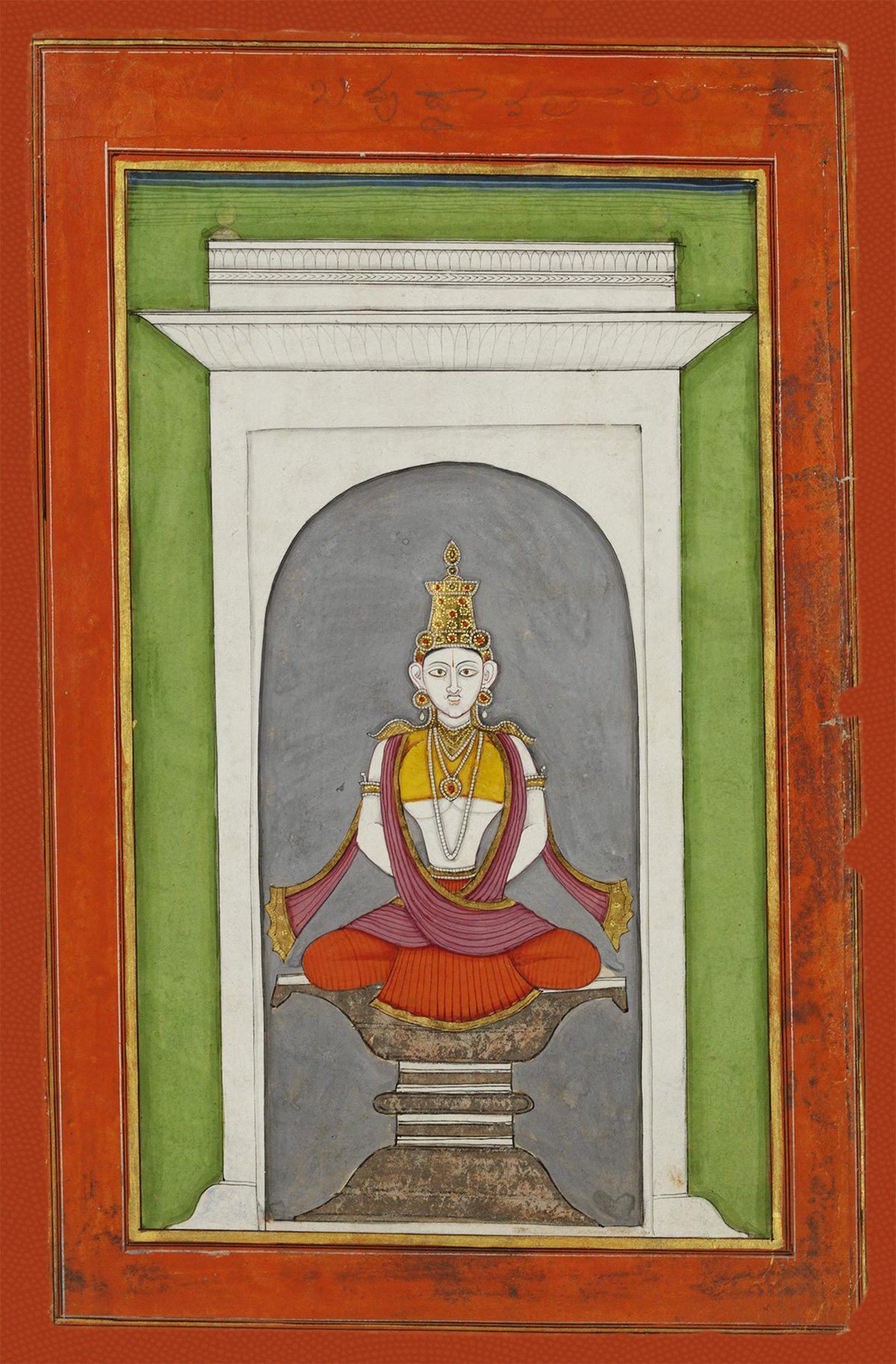 A drawing of Buddha meditating. There is a white temple around it, with a green border and red border outside of that.
