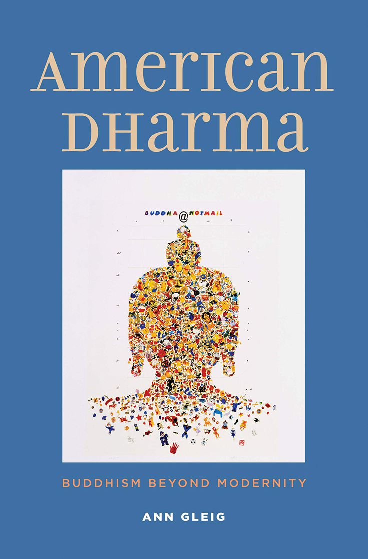 Book cover for American Dharma. The cover is blue with a painting of Buddha head made out of small objects.