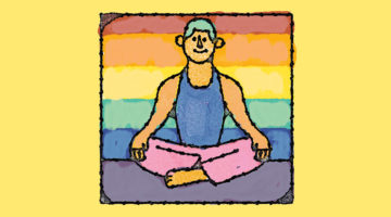 Illustration of a aeditator in front of a pride flag