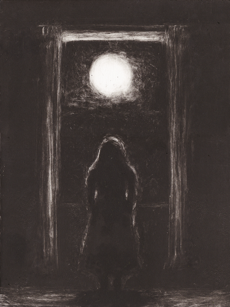 A painting of an outline of a person facing the moon.