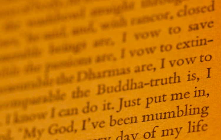 A close-up of Buddhism-inspired content from Franny & Zooey by J.D. Salinger