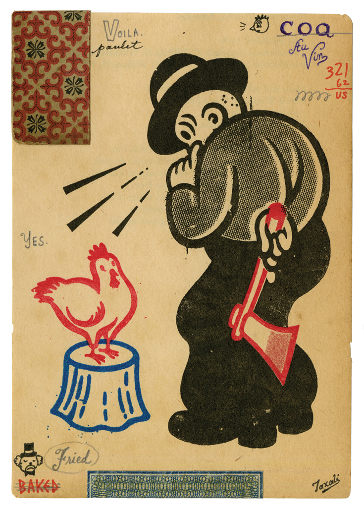 A cartoon of a well-dressed man holding an axe behind his back and looking at a chicken standing on a tree stump.