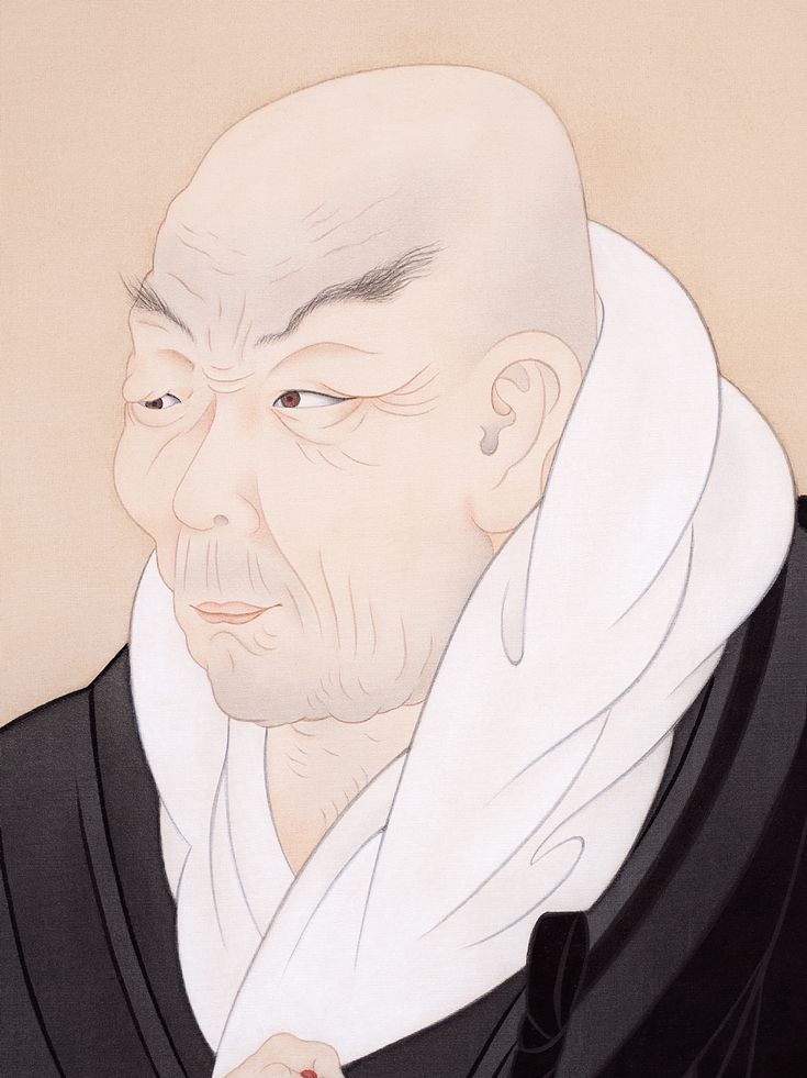A painting of an old man wearing black and white robes.