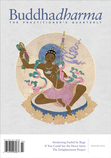 The cover of Buddhadharma. A woman is on the cover.