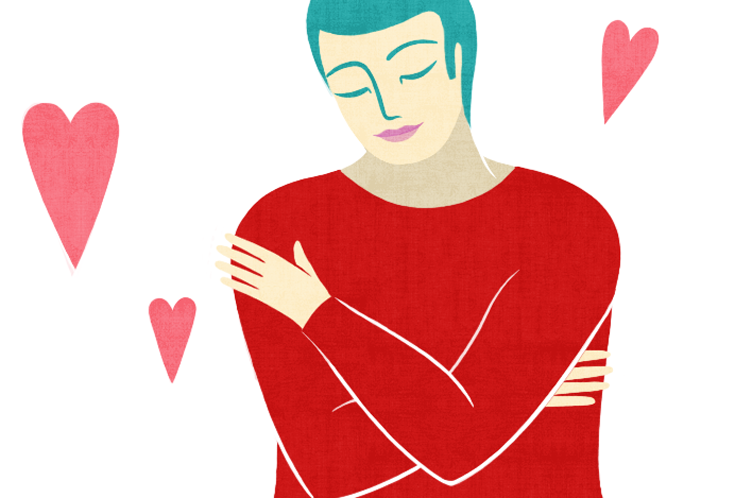 Cartoon of a person hugging themselves.
