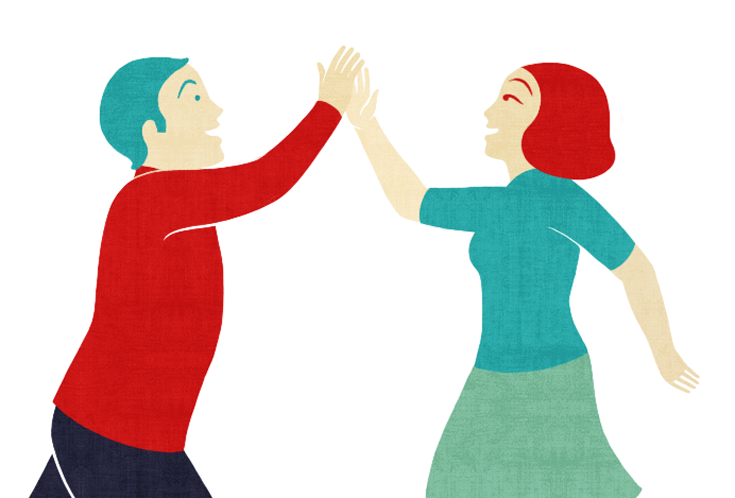 Drawing of man and woman high fiving in the air.