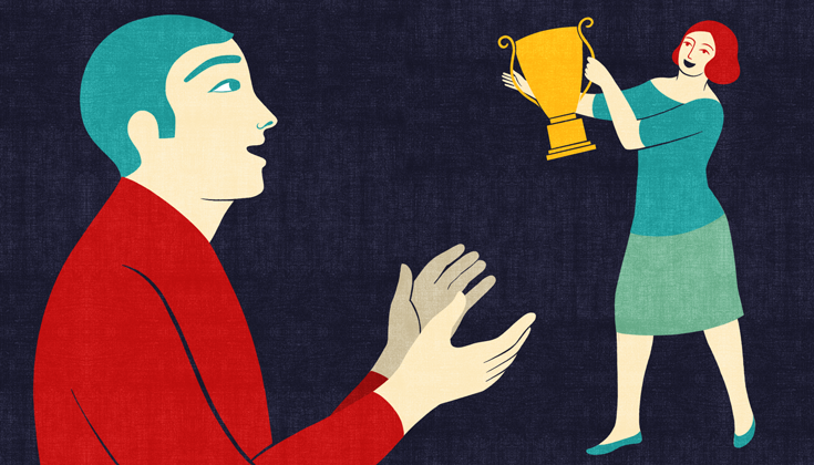 A drawing of a woman holding up a trophy. A man is mid clap on the left side.